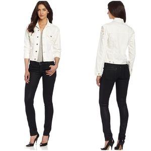 Cheap Monday Distressed White Jeans Jacket Sz M…